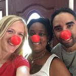 Ms. Jenn/JB, Ms. Kera, & Mr. Tony sporting red noses on Red Nose Day!